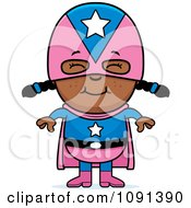 Clipart Happy Black Super Girl Royalty Free Vector Illustration