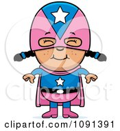Clipart Happy Asian Super Girl Royalty Free Vector Illustration