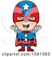Clipart Happy Super Boy Cheering Royalty Free Vector Illustration