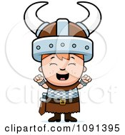 Clipart Happy Viking Boy Cheering Royalty Free Vector Illustration