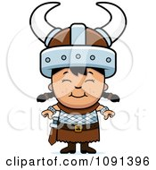 Clipart Happy Asian Viking Girl Royalty Free Vector Illustration