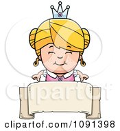 Clipart Cute Blond Princess Girl Over A Blank Banner Royalty Free Vector Illustration