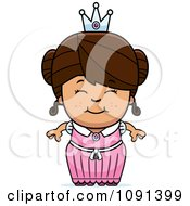 Clipart Cute Brunette Princess Girl Royalty Free Vector Illustration