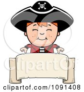 Clipart Happy Pirate Boy Over A Blank Banner Royalty Free Vector Illustration