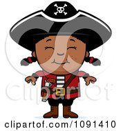 Clipart Happy Black Pirate Girl Royalty Free Vector Illustration