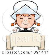 Clipart Happy Pilgrim Girl Over A Blank Banner Royalty Free Vector Illustration