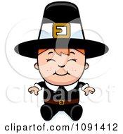 Clipart Happy Pilgrim Boy Sitting Royalty Free Vector Illustration