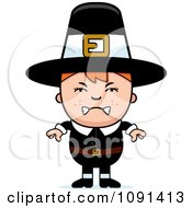 Clipart Mad Pilgrim Boy Royalty Free Vector Illustration