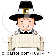 Clipart Happy Pilgrim Boy Over A Blank Banner Royalty Free Vector Illustration
