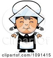 Clipart Happy Asian Pilgrim Girl Royalty Free Vector Illustration