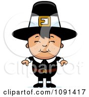 Clipart Happy Asian Pilgrim Boy Royalty Free Vector Illustration