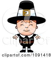 Clipart Happy Pilgrim Boy Royalty Free Vector Illustration