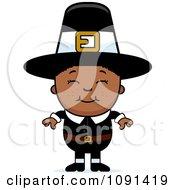 Clipart Happy Black Pilgrim Boy Royalty Free Vector Illustration
