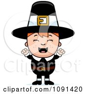 Clipart Happy Pilgrim Boy Cheering Royalty Free Vector Illustration by Cory Thoman
