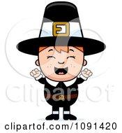 Happy Pilgrim Boy Cheering