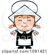 Clipart Happy Pilgrim Girl Royalty Free Vector Illustration