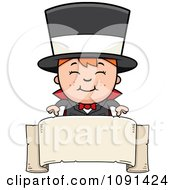Clipart Happy Magician Boy Over A Blank Banner Royalty Free Vector Illustration