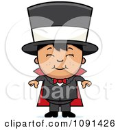 Clipart Happy Asian Magician Boy Smiling Royalty Free Vector Illustration