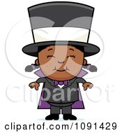 Clipart Happy Black Magician Girl Smiling Royalty Free Vector Illustration