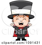 Happy Magician Boy Cheering