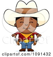 Clipart Happy Black Sheriff Cowboy Kid Royalty Free Vector Illustration