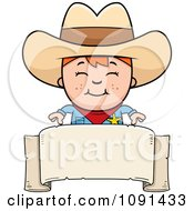Clipart Happy Sheriff Cowboy Kid Over A Blank Banner Royalty Free Vector Illustration