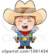 Clipart Cheering Sheriff Cowboy Kid Royalty Free Vector Illustration