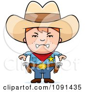 Clipart Mad Sheriff Cowboy Kid Royalty Free Vector Illustration