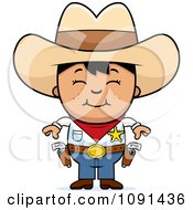 Clipart Happy Asian Sheriff Cowboy Kid Royalty Free Vector Illustration