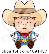 Clipart Happy Sheriff Cowboy Kid Sitting Royalty Free Vector Illustration