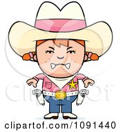 Clipart Mad Sheriff Cowgirl Kid Royalty Free Vector Illustration