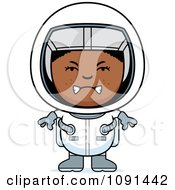 Clipart Mad Black Astronaut Girl Royalty Free Vector Illustration