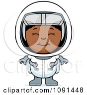 Clipart Happy Black Astronaut Girl Royalty Free Vector Illustration