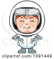 Clipart Happy Red Haired Astronaut Girl Royalty Free Vector Illustration