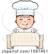 Clipart Happy Chef Boy Over A Blank Banner Royalty Free Vector Illustration