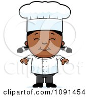 Clipart Happy Black Chef Girl Smiling Royalty Free Vector Illustration