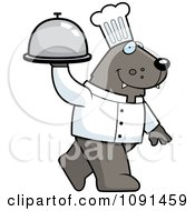 Clipart Wolf Chef Walking With A Platter Royalty Free Vector Illustration
