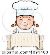Clipart Happy Chef Girl Over A Blank Banner Royalty Free Vector Illustration