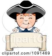 Clipart Colonial Boy Over A Blank Banner Royalty Free Vector Illustration