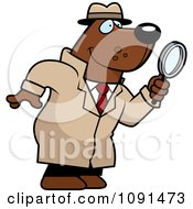 Clipart Bear Detective Using A Magnifying Glass Royalty Free Vector Illustration