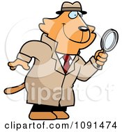 Clipart Cat Detective Using A Magnifying Glass Royalty Free Vector Illustration