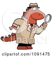 Clipart Dinosaur Detective Using A Magnifying Glass Royalty Free Vector Illustration