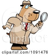 Clipart Dog Detective Using A Magnifying Glass Royalty Free Vector Illustration
