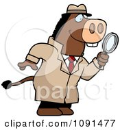 Clipart Donkey Detective Using A Magnifying Glass Royalty Free Vector Illustration by Cory Thoman