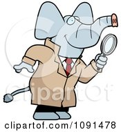 Clipart Elephant Detective Using A Magnifying Glass Royalty Free Vector Illustration