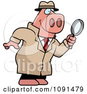 Clipart Pig Detective Using A Magnifying Glass Royalty Free Vector Illustration