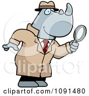 Clipart Rhino Detective Using A Magnifying Glass Royalty Free Vector Illustration