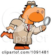 Clipart T Rex Detective Using A Magnifying Glass Royalty Free Vector Illustration