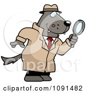 Clipart Wolf Detective Using A Magnifying Glass Royalty Free Vector Illustration
