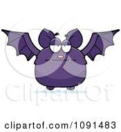 Clipart Bored Purple Bat Royalty Free Vector Illustration